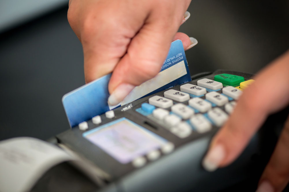Debit card swiping on card-reader device for PCI